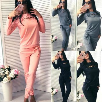 Women Winter Tracksuit 2Pcs Pullover Sweatshirts Pants Ladies Womens Warm Long Sleeve Pant Jumpsuits Playsuits Rompers