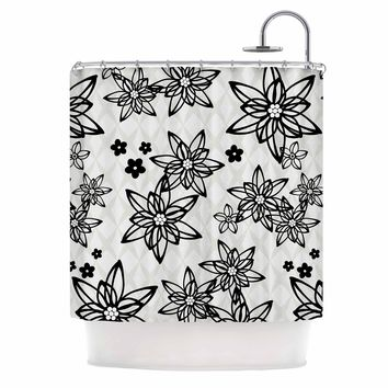 "Julia Grifol ""Floral In Black"" White Black Digital Shower Curtain"