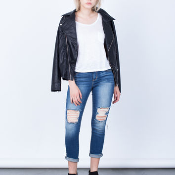 Destroyed Knees Capri Denim Jeans