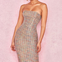 Clothing : Bodycon Dresses : 'Gabrielle' Multi Colour Tweed Strapless Dress
