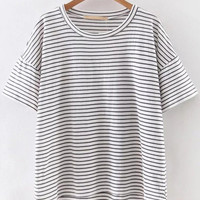 Grey And White Mixed Stripe High Low T-shirt
