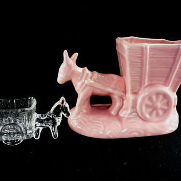Set of 2 Vintage Donkey Carts Pink Ceramic Planter and Clear Glass Candy Dish