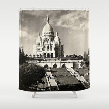 Vintage Sacré-Coeur de Montmartre in Paris Photo Shower Curtain by Christine Aka Stine1