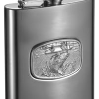 Visol Bass Fishing Stainless Steel Liquor Flask - 8 ounce