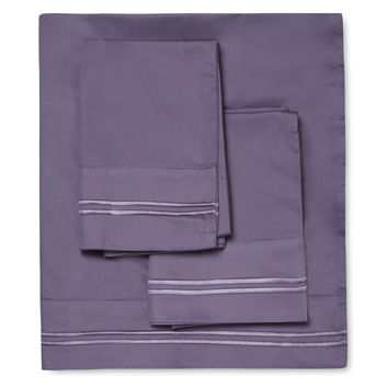 Melange Home Border Stripe Embroidered Sheet Set - Purple -