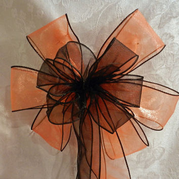 Sheer Black and sheer orange with black trim  Halloween Bow