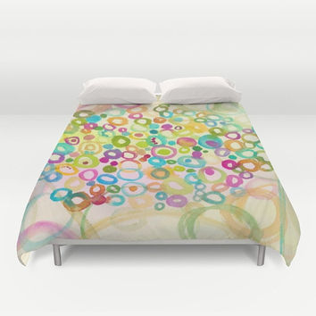 "Colorful ""Connections"" Duvet Cover - or comforter Abstract teal, blue, pink, yellow, bedroom linens,  vibrant modern decor"