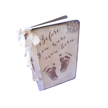 Pregnancy Journal, Baby Feet Journal, Maternity Journal, Mom to be Diary, Vintage Baby Journal, Baby Shower Guest Book, Maternity Gifts