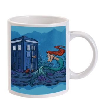 Gift Mugs | Ariel The Little Mermaid Doctor Who Tardis Ceramic Coffee Mugs