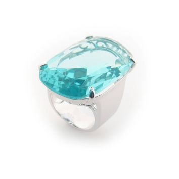 Aqua Crystal Statement Ring | Fine Brass By Fronay Collection