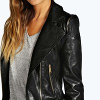 Julie Leather Look Biker Jacket