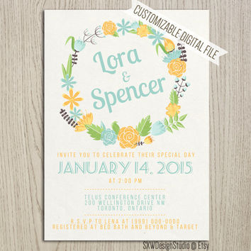 Cute Sparkles Water Flower Wreath Wedding Invitation - Floral Pretty Laurel Classy Print Elegant Professional Fun Cute - DIY Printable (014)