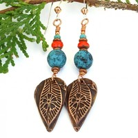 Leaf Flower Earrings, Handmade Jewelry Gift Copper Turquoise Orange
