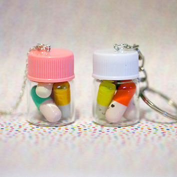 Miniature Happy Pills Bottle in Key chain or Necklace, Message in a bottle,Message pills