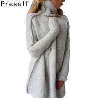 Preself Autumn Winter warm Women Knitted Sweater Cowl Neck Loose Thickening Oversize Batwing Sleeve Pullover Jumper Outwear Tops
