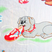 Vintage Pound Puppies Twin Flat Sheet 1980s
