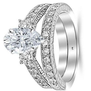 .1.78 Ctw 14K White Gold GIA Certified Pear Cut Three Stone Vintage with Milgrain & Filigree Bridal Set with Wedding Band & Diamond Engagement Ring, 0.75 Ct D-E VS1-VS2 Center