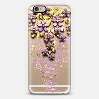 Cascading Blossoms - transparent floral gold pink glitter crystal confetti flowers iPhone 6s case by Anneline Sophia | Casetify