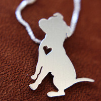 Pit bull , sterling silver, sitting down hand cut necklace and pendant
