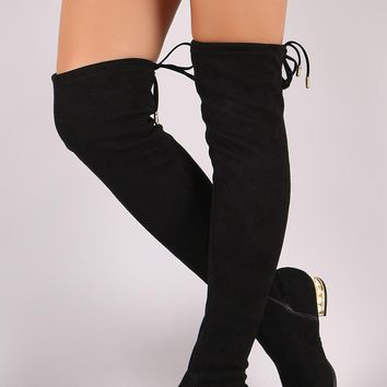 Wild Diva Lounge Suede Drawstring Tie Faux Pearl Heeled OTK Boots