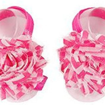 Shabby Chic Baby Toddler Barefoot Sandal Hot Pink Chiffon Flower Elastic Foot Wear  2 Pc 1 Pair New Item