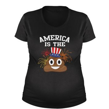 America Is The Poop Emoticon Maternity Pregnancy Scoop Neck T-Shirt