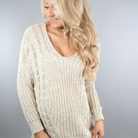 Cream Knit Criss Cross Sweater