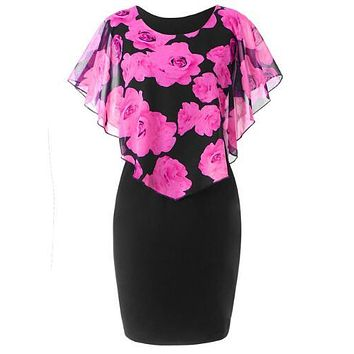S-5XL Plus Size Rose Valentine Overlay Capelet Dress 2018 Summer O-Neck Short Sleeve Women Party Bodycon Dresses Vestidos Robe rose Red