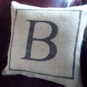 Burlap Initial Pillow / Custom Burlap Decorative Pillow / Wedding or Anniversary Pillow by North Country Comforts