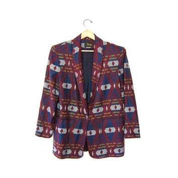 Vintage tribal jacket. Southwestern Navajo blanket coat. Colorful Tribal blazer. Fall Slouchy Jacket. Aztec Printed Coat. Womens Fall Coat.