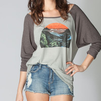 Rvca Sunrise Womens Baseball Tee Black/Grey  In Sizes