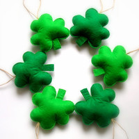 Felt ornaments Handmade St Patrick's day,Green Felt Shamrock Ornaments,8 pieces
