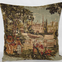 "Pictorial Toile Pillow, Covington Abu Dusk, Dusty Aqua Brown Green Rust, Palace and People, Vintage Look, 18"" Square Linen Blend, Ready Ship"