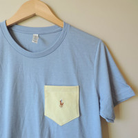New Soft Blue Unisex T-Shirt with Upcycled Ralph Lauren Pocket // Size MEDIUM // READY to SHIP // One of a Kind