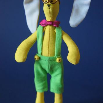MINIATURE BUNNY 5.5 inches Yellow bunny in green overall