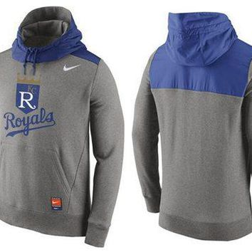 Kansas City Royals Nike MLB Gray/blue Ultra Fleece Pullover Hoodie
