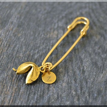 Gold Personalized Fortune Cookie Charm Kilt Pin, Initial Charm Scarf Pin, Lucky Charm Brooch, Letter Pin, Personalize Safety Pin Brooch