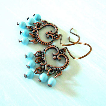 TURQUOISE GYPSY Ethnic Boho Chandelier Earrings in Antique Copper with Patina & Natural Turquoise Beads from New World