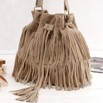 Women Suede Drawstring Bucket Bag Women vintage Handbag Faux Fringe Tassel Shoulder Crossbody bags lady Messenger Bag
