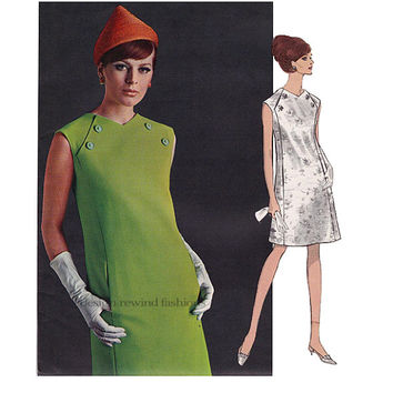 1960s Vogue DRESS PATTERN Federico Forquet 60s MOD Twiggy Italian Dress Vogue Paris Couturier 1837 Bust 38 Women's Vintage Sewing Patterns