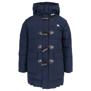 Navy Nylon Puffa Duffle Coat