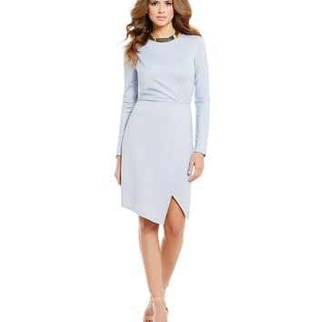 Gianni Bini Millile Asymmetric Wra Long Sleeve Knit Chambray Dress | Dillards