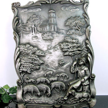 Vintage GERMAN PEWTER Plaque Wurmlinger Chapel Shepherd Boy Ludwing Uhland Rare