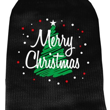 Scribbled Merry Christmas Screen Print Knit Pet Sweater Xl Black