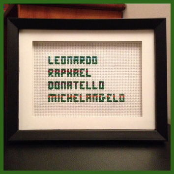 Teenage Mutant Ninja Turtles Cross Stitch Picture Framed