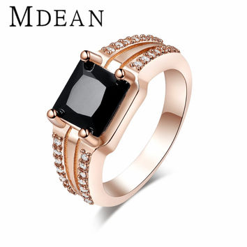 Rose gold plated Rings Finger fashion Wedding Engagement classic black CZ Diamond for Women Jewelry free shipping MSR175