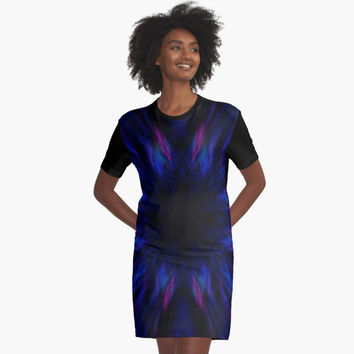'Purple and blue streaks pattern' Graphic T-Shirt Dress by steveball