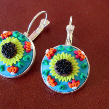 sunflower floral earring,flower earrings,cameo earrings,multicolor earrings,spring earrings,artisan earrings,ready to ship jewelry,sunflower