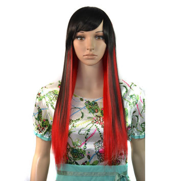 European Fashion Charming Women Mix Highlights Straight Hair Anime Cosplay Party Wig Red Black Gradient TC-1209-02
