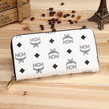 MCM Female zipper leather wrist hand bag bag multicard White G-YJBD-2H